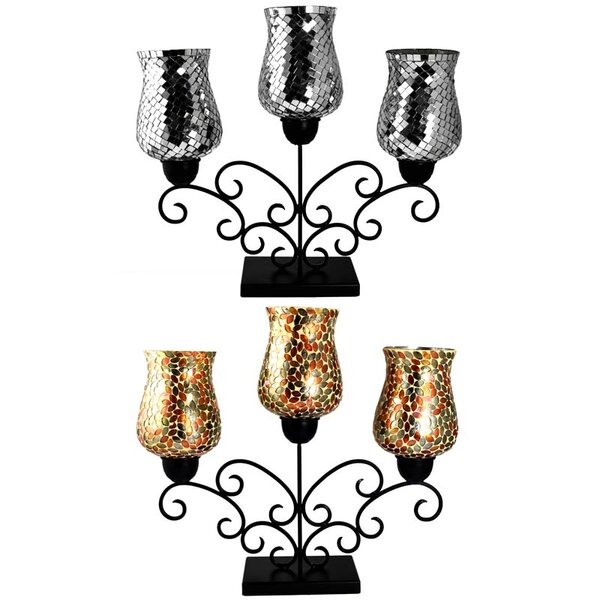 Metal and Glass Candelabra (Set of 2) by Fleur De Lis Living