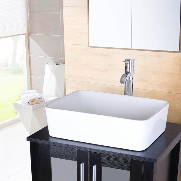 White Ceramic Rectangular Vessel Bathroom Sink with Faucet