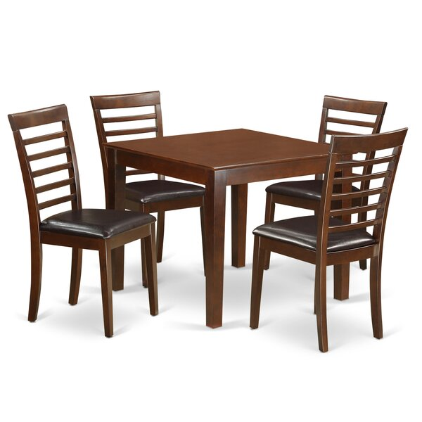 Cobleskill Faux Leather 5 Piece Dining Set by Alcott Hill