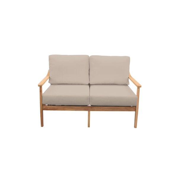 Amador Teak Loveseat with Sunbrella Cushions by Union Rustic Union Rustic