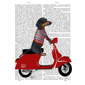 Dachshund on a Moped Graphic Art on Wrapped Canvas by Courtside Market