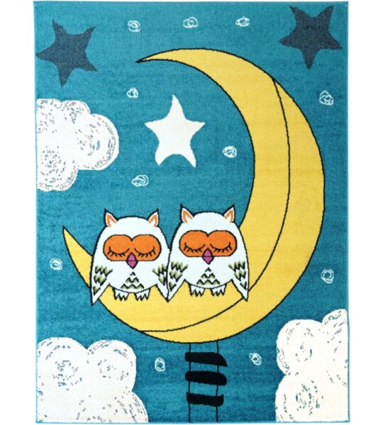 Howton Kids Owl Moon Blue/Yellow Area Rug by Zoomie Kids