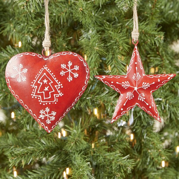 Nordic Heart and Star 2-Piece Ornament Set by Birch Lane™
