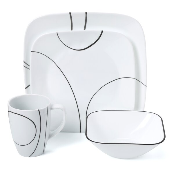 Simple Lines 16 Piece Dinnerware Set, Service for 4 by Corelle