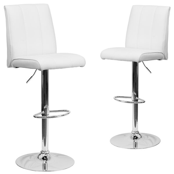 Norma Adjustable Height Swivel Bar Stool (Set of 2) by Wrought Studio