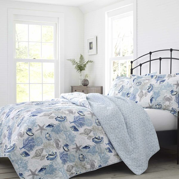 Surf Spray Cotton Reversible Quilt Set by Laura Ashley Home by Laura Ashley Home