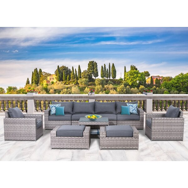 Burkley 9 Piece Rattan Sectional Seating Group With Cushions By Longshore Tides