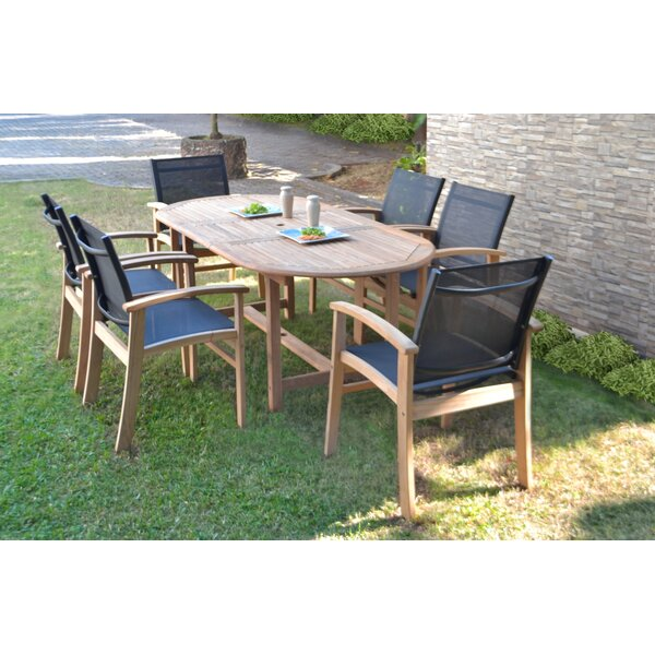 Crawfordville 7 Piece Teak Dining Set by Rosecliff Heights