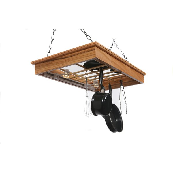 Hanging Pot Rack with Lights by Laurel Highlands Woodshop