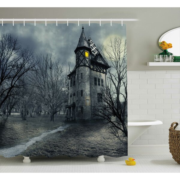 Halloween Decor Haunted House in Black Shower Curtain by The Holiday Aisle