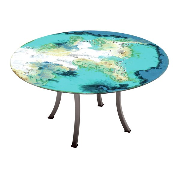 Etna Round Diagonal Cut Metal Dining Table by Seasonal Living