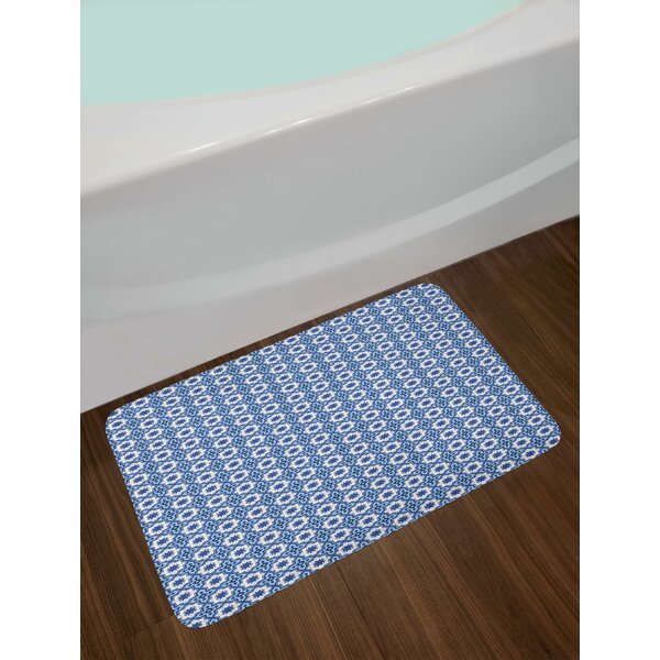 Moroccan Traditional Tile Motifs with Floral Elements in Blue Bath Rug by East Urban Home