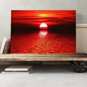 Landscape Red Sunset Photographic Print on Canvas