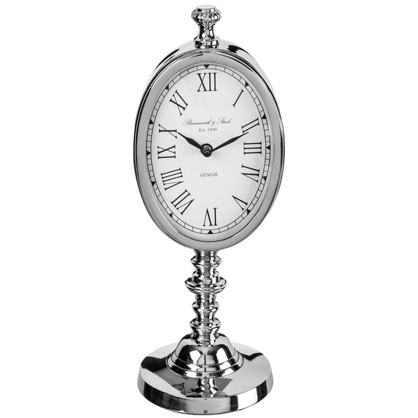 Polished Nickel Stand Tabletop Clock by Darby Home Co