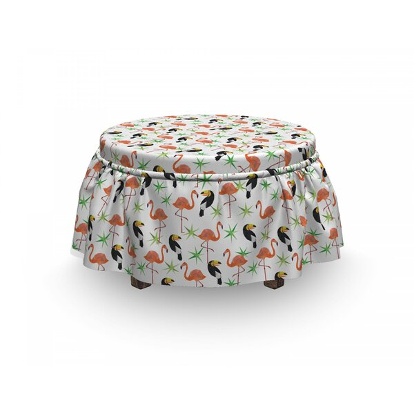 Exotic Flamingo And Toucan Ottoman Slipcover (Set Of 2) By East Urban Home