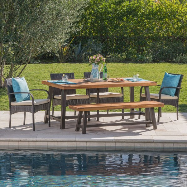 Warkentin Outdoor 6 Piece Dining Set with Cushions by Gracie Oaks