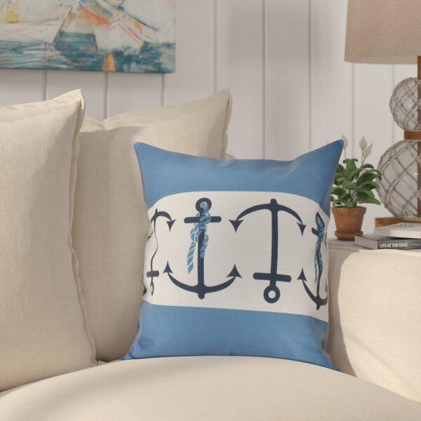 Hancock Anchor Stripe Print Outdoor Throw Pillow by Breakwater Bay