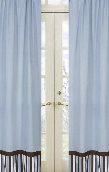 Starry Night Striped Semi-Sheer Rod pocket Curtain Panels (Set of 2) by Sweet Jojo Designs