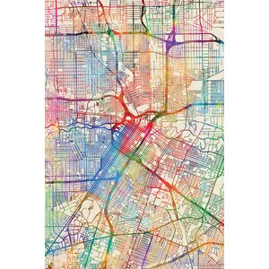 Urban Rainbow Street Map Series: Houston, Texas, USA Graphic Art on Wrapped Canvas by East Urban Home
