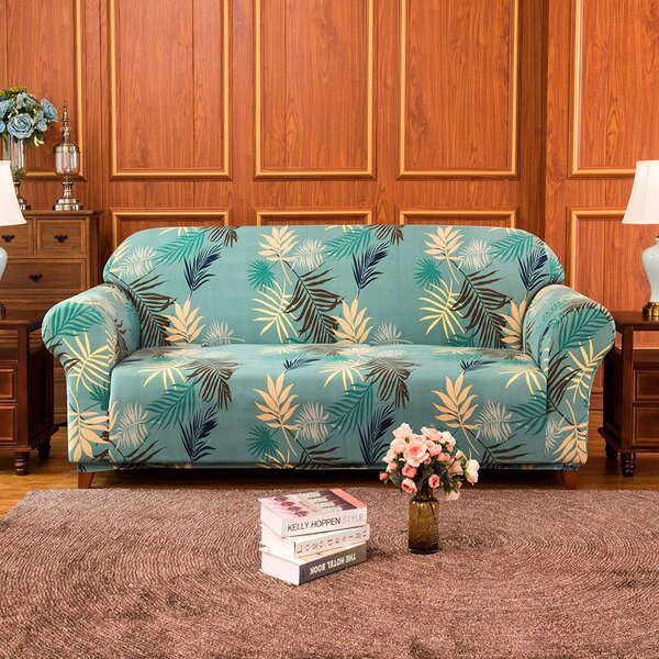 Discount Rocco Leaves Printed Stretch Loveseat Slipcover