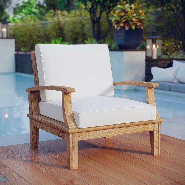Elaina Teak Patio Chair with Cushion by Beachcrest Home