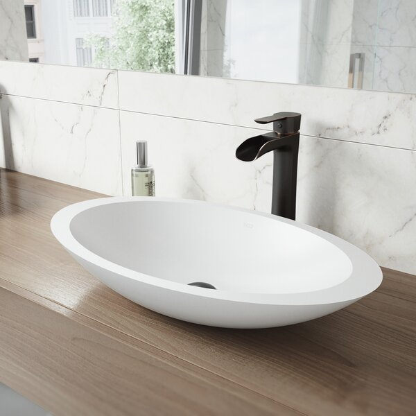 VIGO Matte Stone Oval Vessel Bathroom Sink with Faucet by VIGO