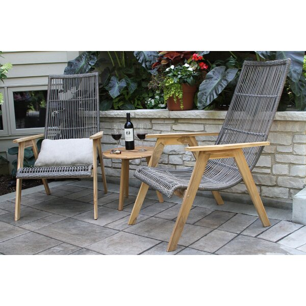 Kennebunkport Teak Patio Chair with Cushions (Set of 2) by Bay Isle Home