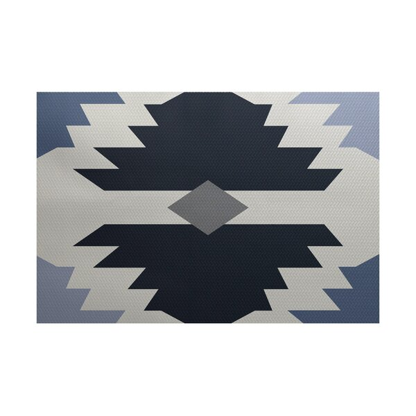 Foley Geometric Print Navy Blue Indoor/Outdoor Area Rug by Ivy Bronx