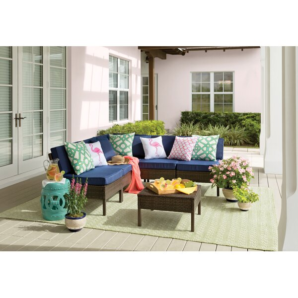 Mccubbin 5 Piece Rattan Sectional Seating Group with Cushions by House of Hampton