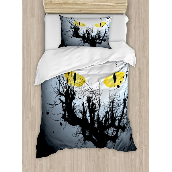Horror House Scary Eyes Backgrounded Leafless Old Branch Angry Hunt Animal Creature Duvet Set by Ambesonne