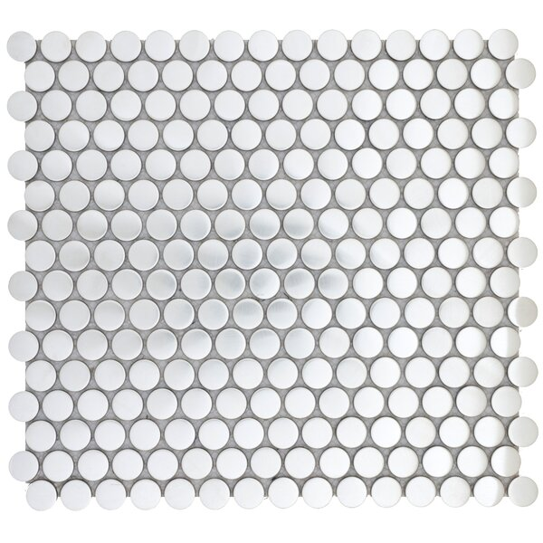 Gleam 12 x 12 Metal over Ceramic Penny Mosaic Tile in Silver by Emser Tile