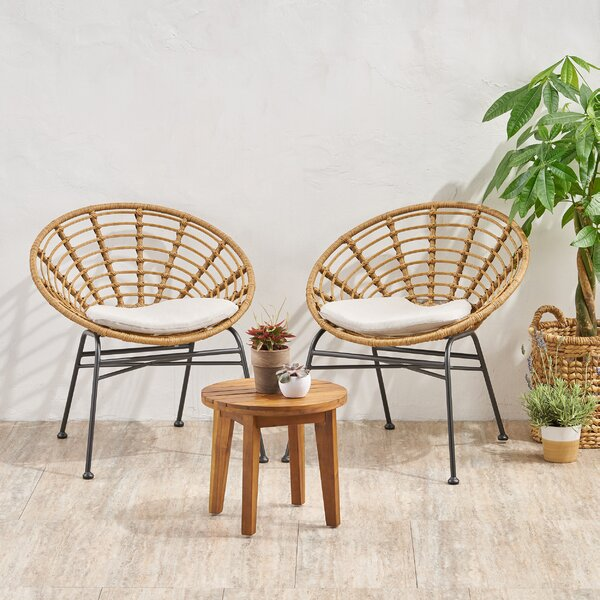 Hochstetler Acacia Wood Chat 3 Piece Seating Group with Cushions by Bungalow Rose