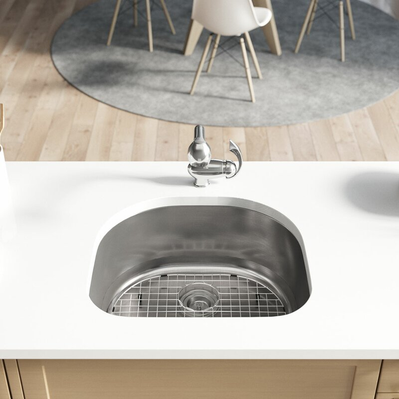 stainless steel 24   x 21   undermount kitchen sink with additional accessories ren  byelkay stainless steel 24   x 21   undermount kitchen sink with      rh   wayfair com