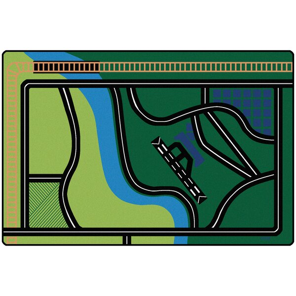 Transportation Fun Green Area Rug by Carpets for Kids