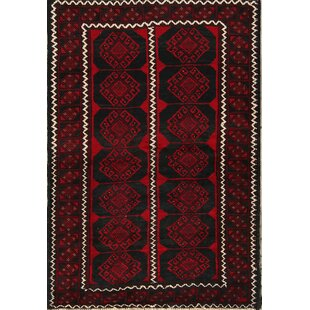 Compare prices One-of-a-Kind Altitude Turkoman Persian Hand-Knotted 4' 3'' x 6' 3'' Wool Red/Black Area Rug By Isabelline