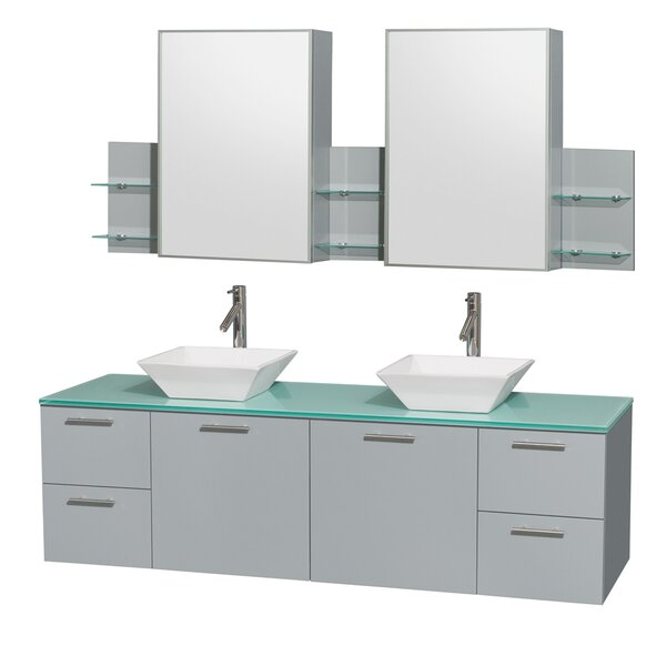 Amare 72 Double Dove Gray Bathroom Vanity Set with Medicine Cabinet by Wyndham Collection