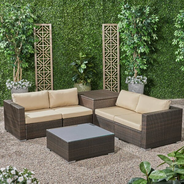Roxann Outdoor 4 Seater Wicker Sofa Set with Storage Ottoman and Sunbrella Cushions by Brayden Studio
