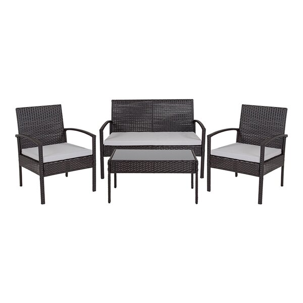 Tharon 4 Piece Rattan Sofa Seating Group with Cushions by Latitude Run