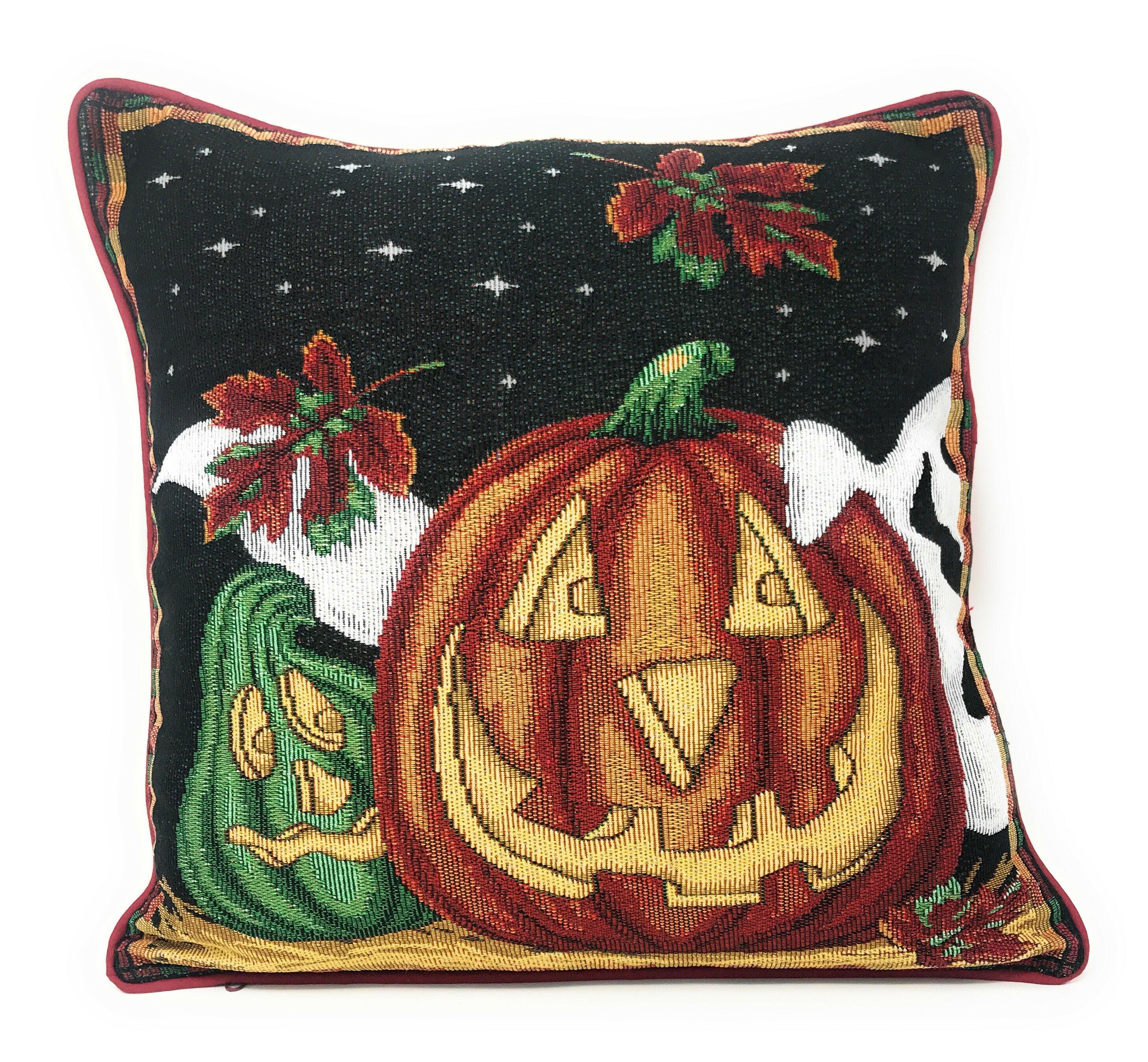 Burlap Throw Pillow Cover Halloween Jack O/' Lantern