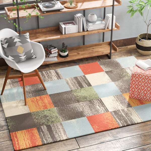 Benn Patchwork Gray/Salmon/Blue Area Rug by Brayden Studio