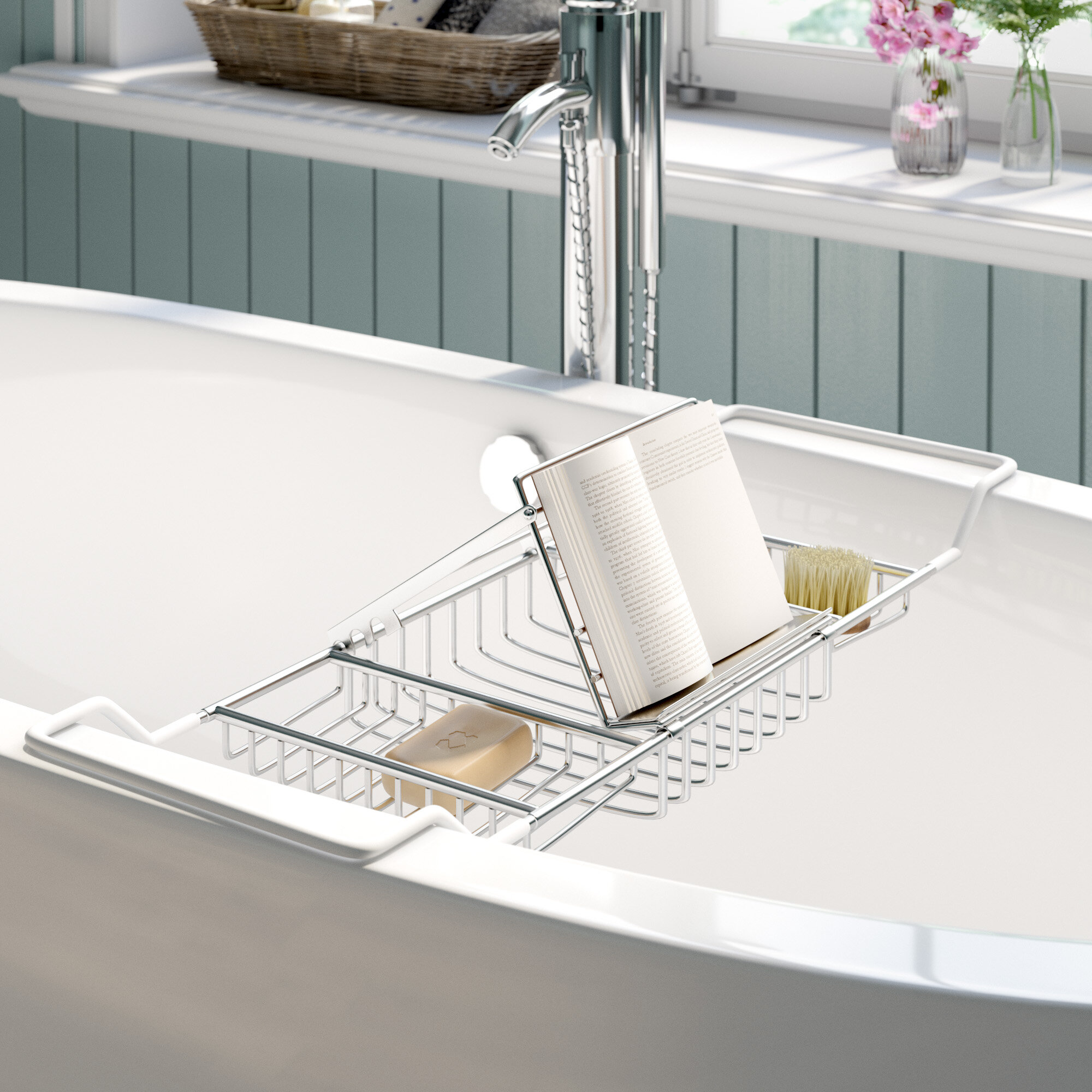 The Twillery Co. Ely Reading Rack Bath Caddy & Reviews | Wayfair