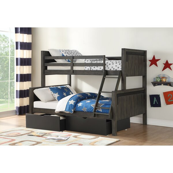 Coleraine Barn Door Twin Over Full Bunk Bed with Drawers by Harriet Bee