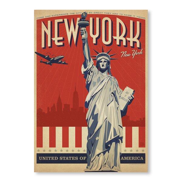 New York City Liberty Skyline Vintage Advertisement by East Urban Home
