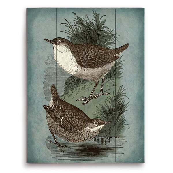 Two Birds One Tone Painting Print on Plaque by Click Wall Art