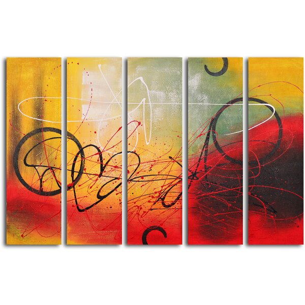 Graffiti on Copper 5 Piece Painting on Wrapped Canvas Set by My Art Outlet
