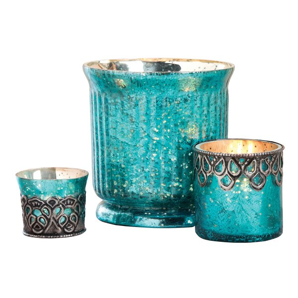 3 Piece Glass Votive Set by House of Hampton