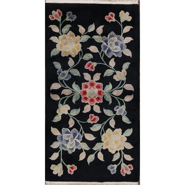 Christi Traditional Art Deco Vintage Chinese Classical Hand-Knotted Wool Red/Black/Blue Area Rug by Bloomsbury Market