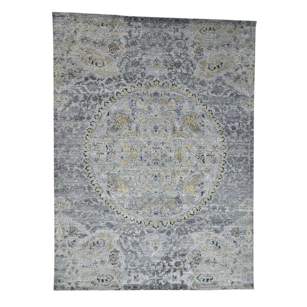One-of-a-Kind Niko The Maharaja with Oxidized Oriental Hand-Knotted Silk Gray Area Rug by World Menagerie