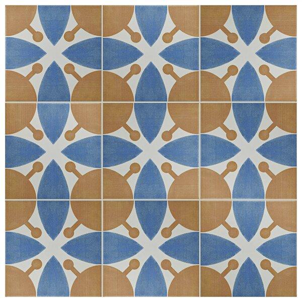 Revive 7.75 x 7.75 Ceramic Field Tile in Orange/Navy by EliteTile