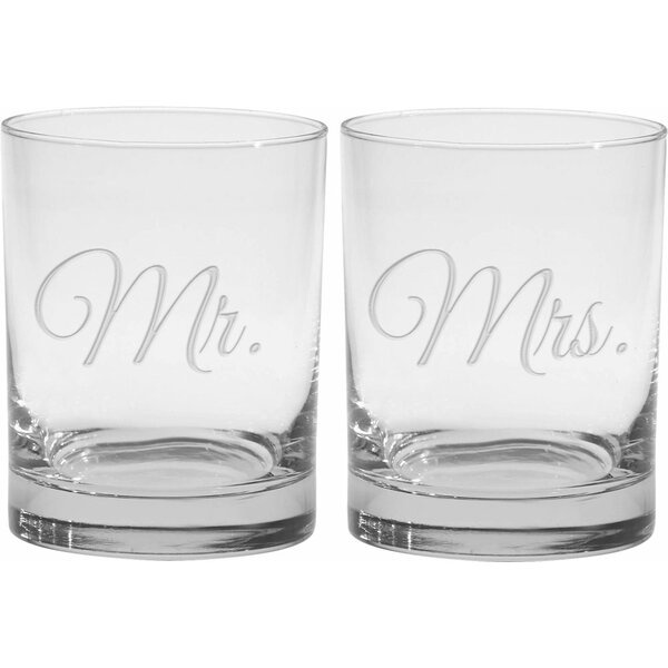 Lilienthal Deep Etched 14 Oz. Double Old Fashioned Glasses (Set of 2) by Winston Porter